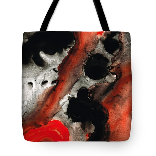 Tempest - Red And Black Painting Tote Bag by Sharon Cummings