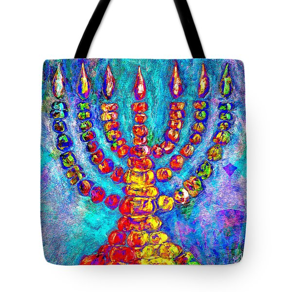 Temple Menorah Tote Bag by Music of the Heart