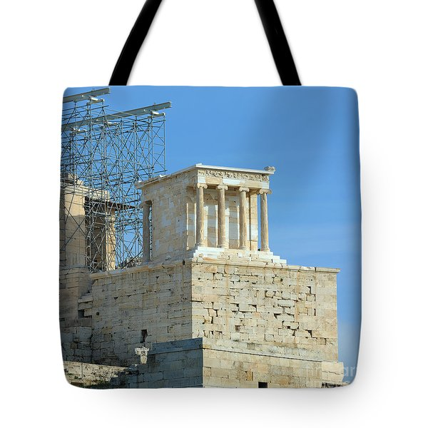 Temple of Athena Nike Tote Bag by Grigorios Moraitis