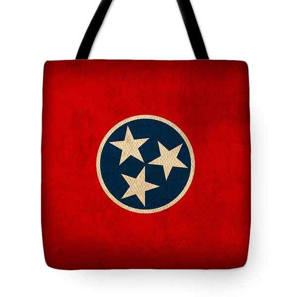 Tennessee State Flag Art on Worn Canvas Tote Bag by Design Turnpike