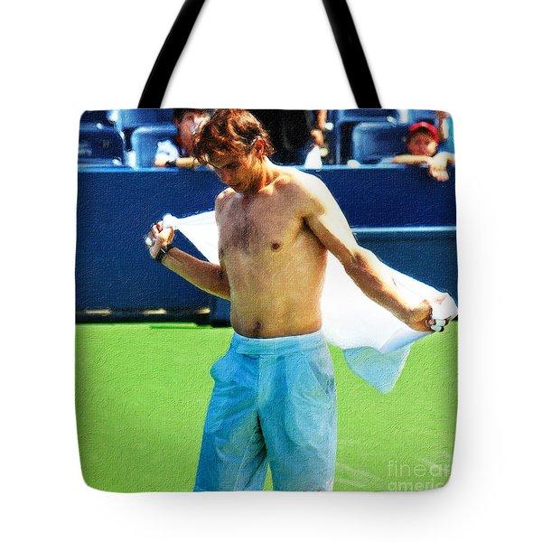Tennis Champion Rafa Nadal  Tote Bag by Nishanth Gopinathan