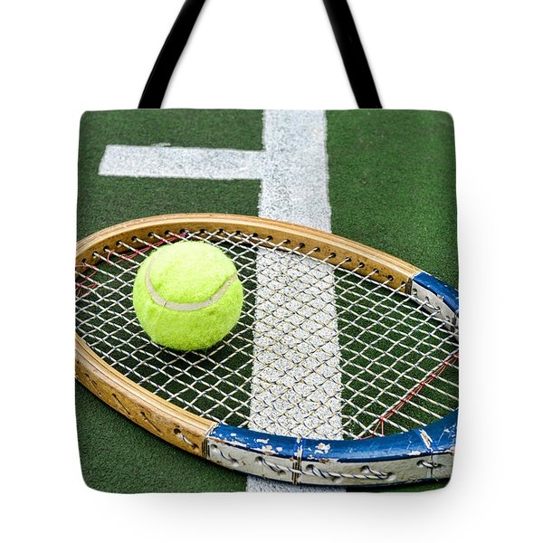 Tennis - Wooden Tennis Racquet Tote Bag by Paul Ward