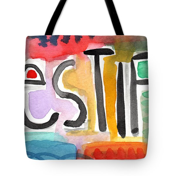 Testify- Colorful Pop Art Painting Tote Bag by Linda Woods