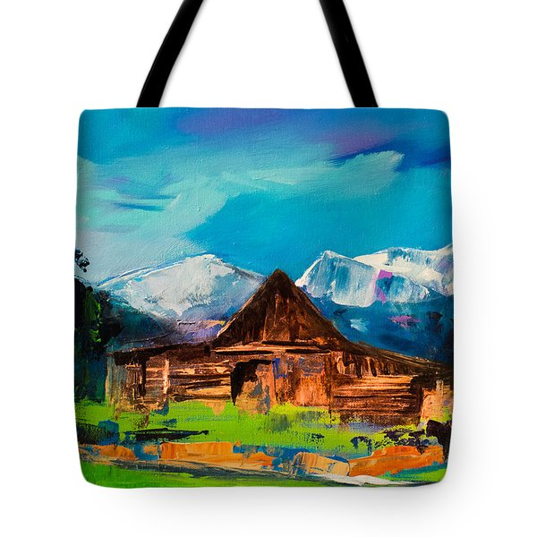 Teton Barn  Tote Bag by Elise Palmigiani
