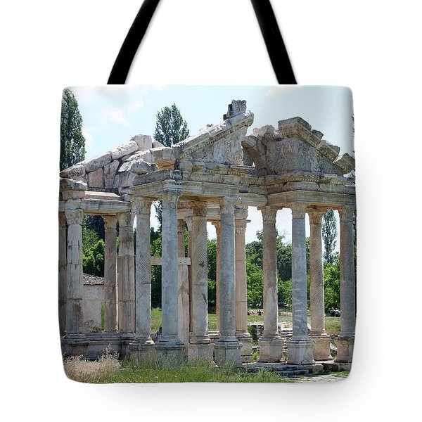 Tetrapylon The Arched Gate of Aphrodisias Tote Bag by Tracey Harrington-Simpson