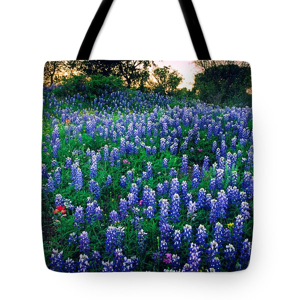Texas Bluebonnet Field Tote Bag by Inge Johnsson
