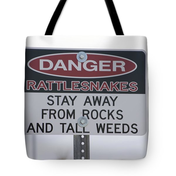 Texas Danger Rattle Snakes Signage Tote Bag by Thomas Woolworth