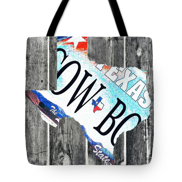 Texas License Plate Map Tote Bag by Bill Cannon
