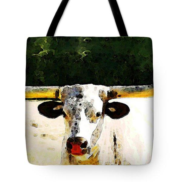 Texas Longhorn - Bull Cow Tote Bag by Sharon Cummings