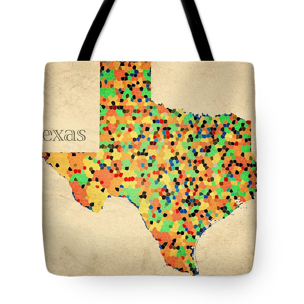 Texas Map Crystalized Counties On Worn Canvas By Design Turnpike Tote Bag by Design Turnpike