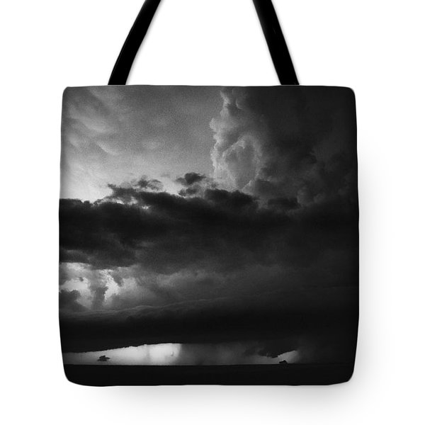 Texas Panhandle Supercell - Black And White Tote Bag by Jason Politte