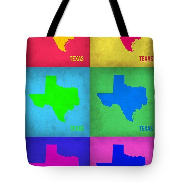 Texas Pop Art Map 1 Tote Bag by Naxart Studio