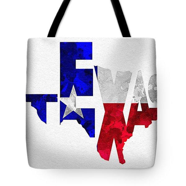 Texas Typographic Map Flag Tote Bag by Ayse Deniz