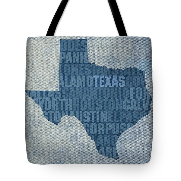 Texas Word Art State Map On Canvas Tote Bag by Design Turnpike