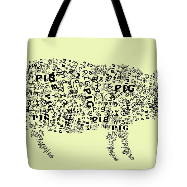 Text Pig Tote Bag by Heather Applegate