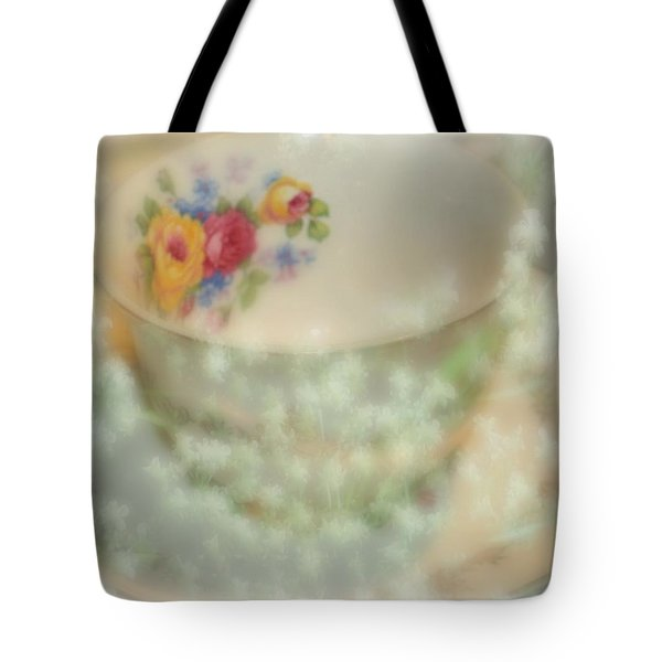 Textured Tea Cup Tote Bag by Barbara S Nickerson