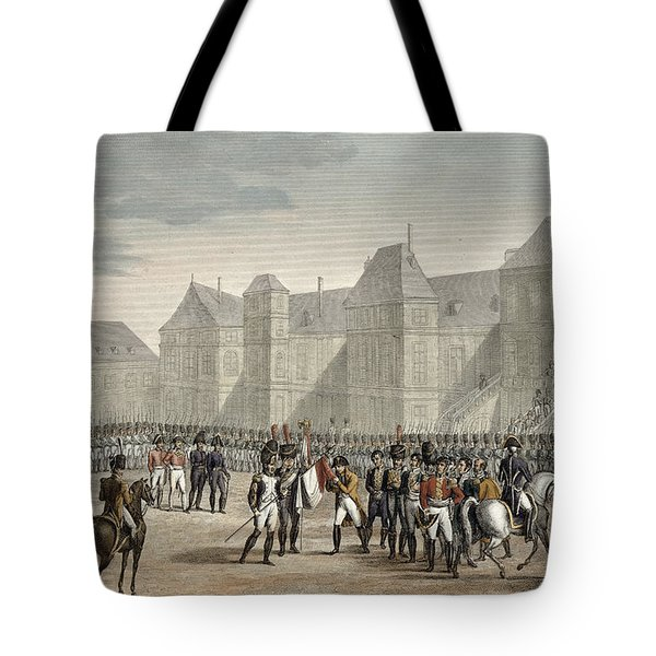 The Abdication Of Napoleon Tote Bag by Louis Francois Couche