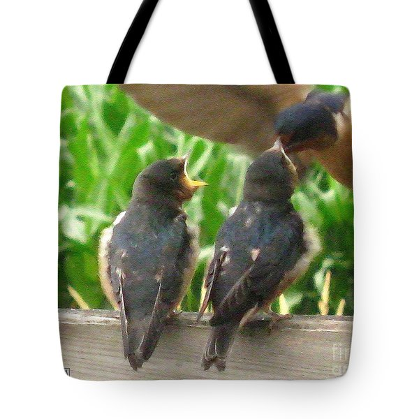 The Adult Barn Swallow Arrives With Lunch For One Tote Bag by J McCombie