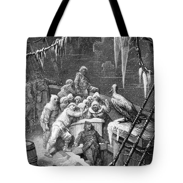 The Albatross Being Fed By The Sailors On The The Ship Marooned In The Frozen Seas Of Antartica Tote Bag by Gustave Dore