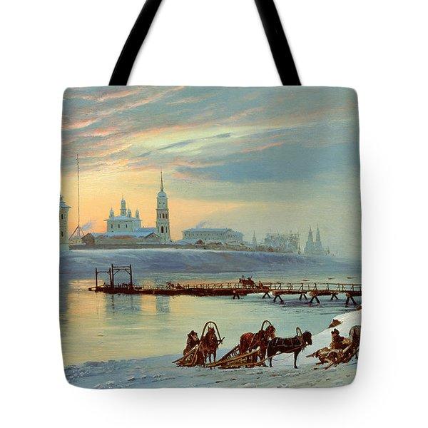 The Angara Embankment In Irkutsk Tote Bag by Nikolai Florianovich Dobrovolsky