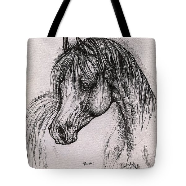 The Arabian Horse With Thick Mane Tote Bag by Angel  Tarantella
