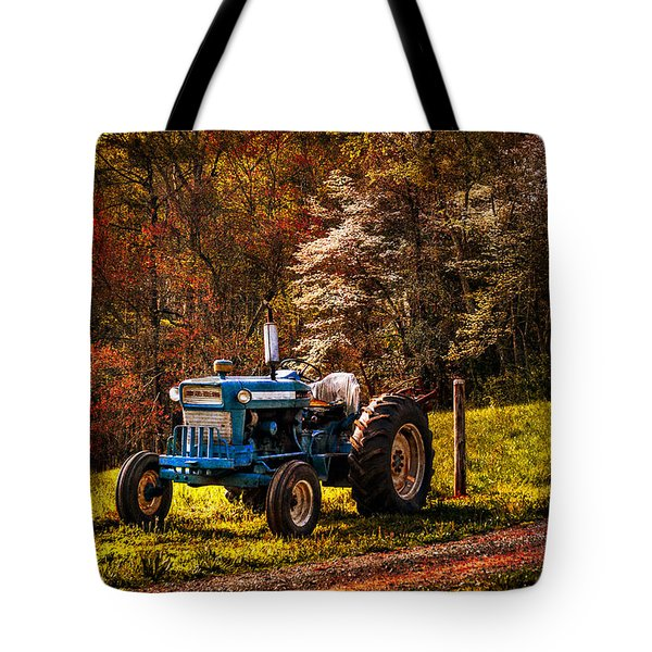 The Autumn Blues Tote Bag by Debra and Dave Vanderlaan