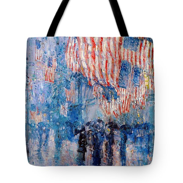 The Avenue In The Rain Tote Bag by Frederick Childe Hassam