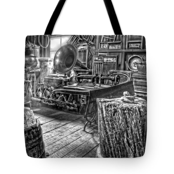 The Back Room Black And White Tote Bag by Ken Smith