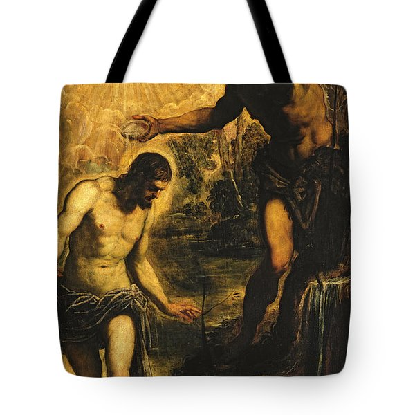 The Baptism Of Christ Tote Bag by Jacopo Robusti Tintoretto