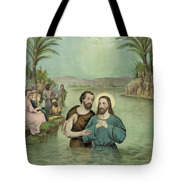 The Baptism Of Jesus Christ Circa 1893 Tote Bag by Aged Pixel