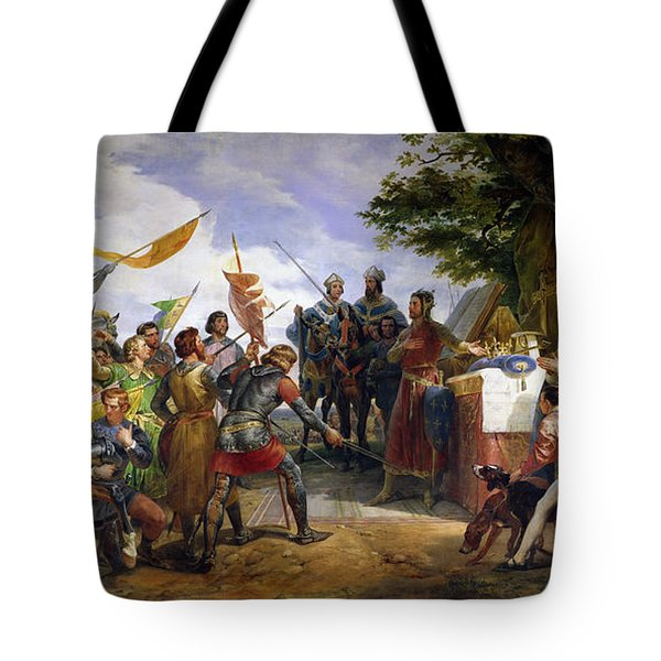 The Battle Of Bouvines Tote Bag by Emile Jean Horace Vernet