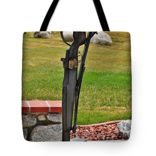 The Battlefield Cross Tote Bag by Janice Rae Pariza