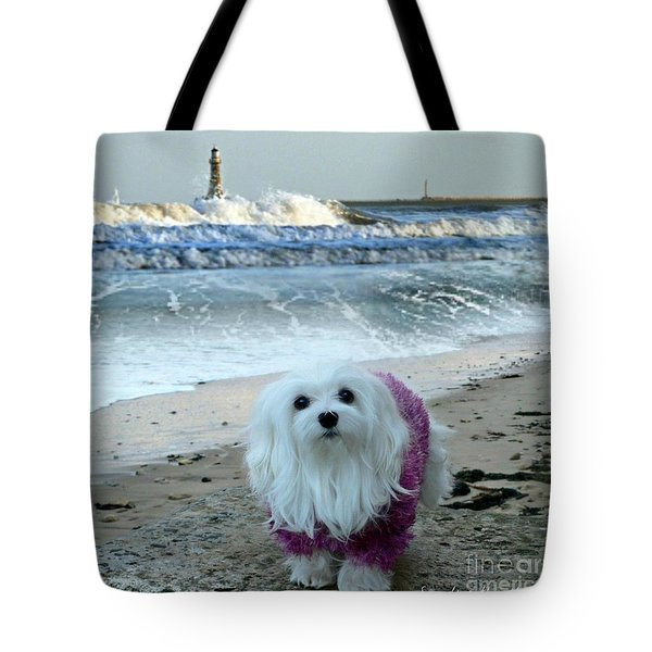 The Beach In Winter Tote Bag by Morag Bates