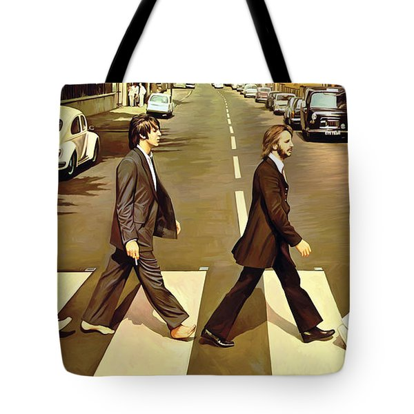 The Beatles Abbey Road Artwork Tote Bag by Sheraz A