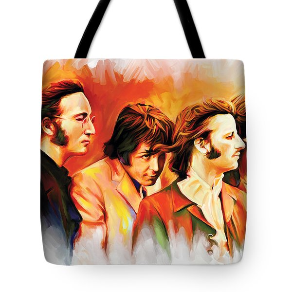 The Beatles Artwork Tote Bag by Sheraz A