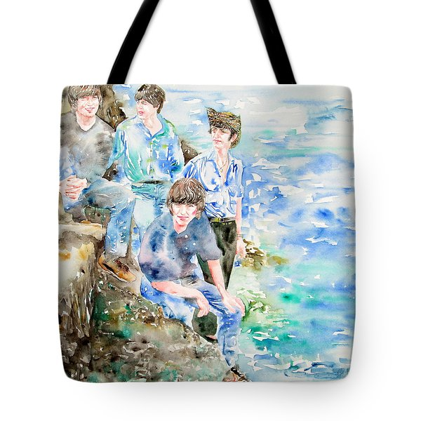 THE BEATLES AT THE SEA watercolor portrait Tote Bag by Fabrizio Cassetta