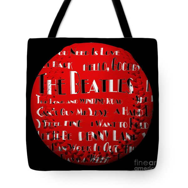 The Beatles Songs Baseball Square Tote Bag by Andee Design