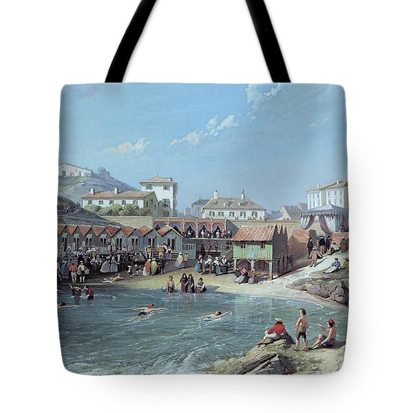 The Beginning Of Sea Swimming In The Old Port Of Biarritz  Tote Bag by Jean Jacques Alban de Lesgallery