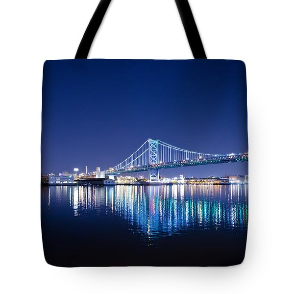 The Benjamin Franklin Bridge at Night Tote Bag by Bill Cannon