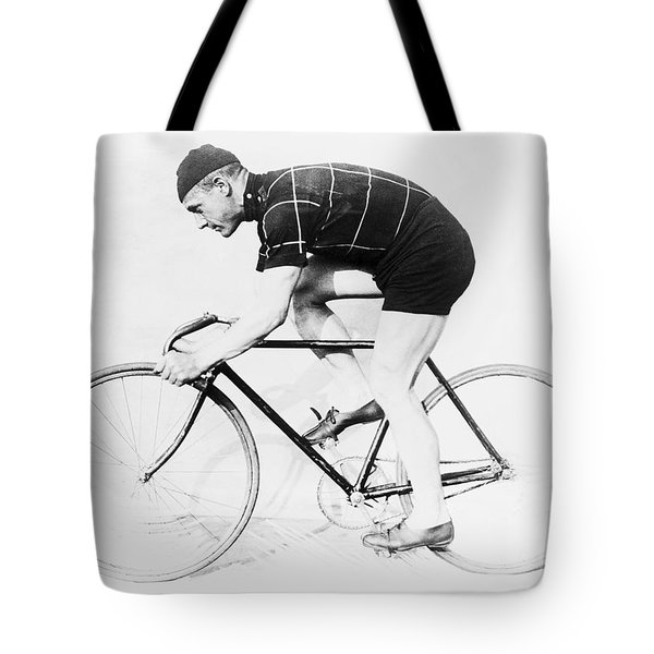 The Bicyclist - 1914 Tote Bag by Daniel Hagerman