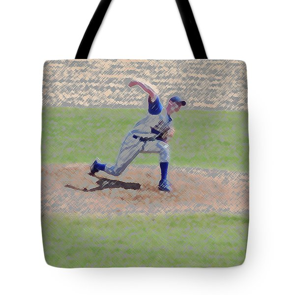 The Big Baseball Pitch Digital Art Tote Bag by Thomas Woolworth