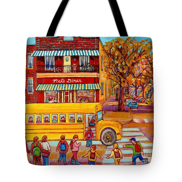 The Big Yellow School Bus Street Scene Paintings Of Montreal Tote Bag by Carole Spandau