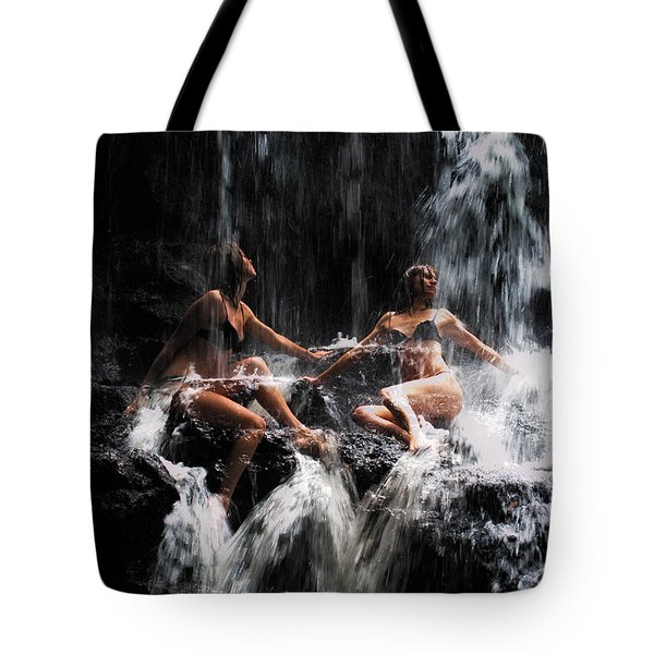 The Birth of the Double Star. Anna at Eureka Waterfalls. Mauritius. TNM Tote Bag by Jenny Rainbow