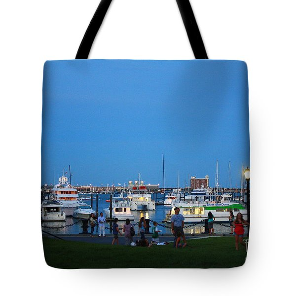 The Boston Wharf In The Early Evening Tote Bag by Dora Sofia Caputo Photographic Art and Design