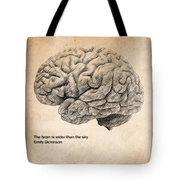 The Brain Is Wider Than The Sky Tote Bag by Taylan Soyturk