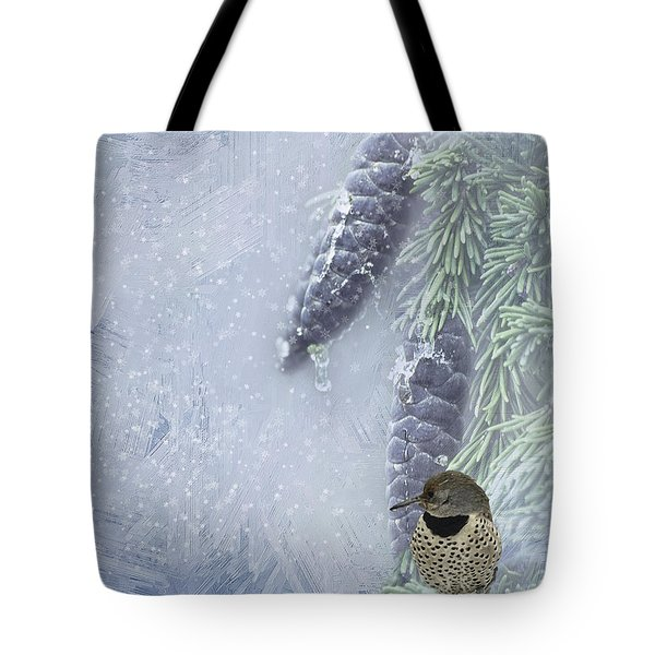 The Breath Of Old Man Winter Tote Bag by Diane Schuster