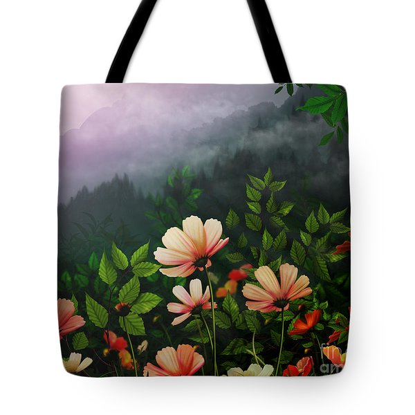 The Brighter Side Of The Dark Mountains Tote Bag by Bedros Awak