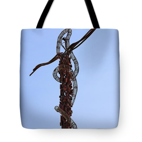 The Bronze Brazen Serpent Sculpture At Mount Nebo Jordan Tote Bag by Robert Preston