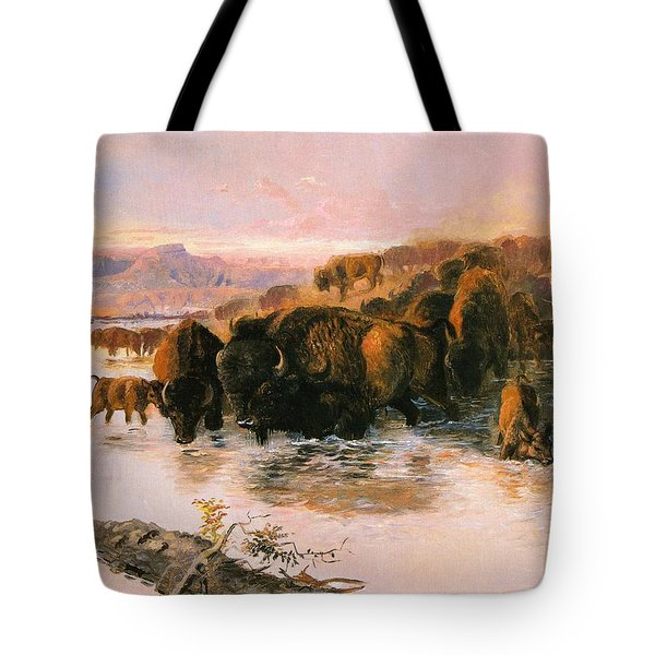 The Buffalo Herd Tote Bag by Charles Russell