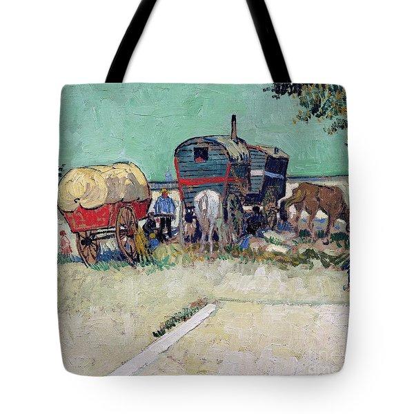 The Caravans   Gypsy Encampment Near Arles Tote Bag by Vincent Van Gogh